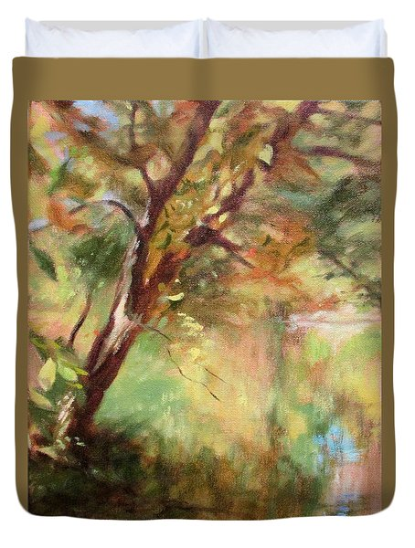 By The Greenway In Autumn- Along The Roanoke River Duvet Cover