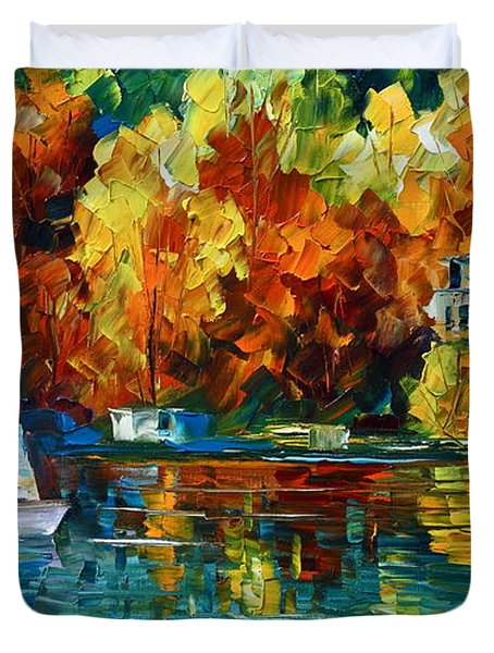 By The Rivershore Duvet Cover by Leonid Afremov