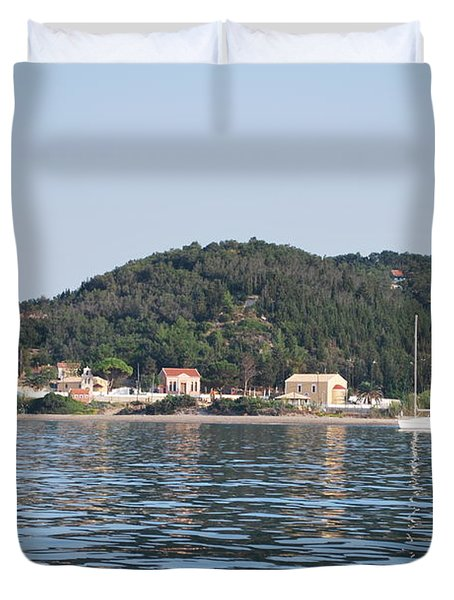 Duvet Cover featuring the photograph By The Sea by George Katechis