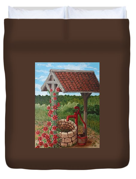 Duvet Cover featuring the painting By The Water Pump by Katherine Young-Beck