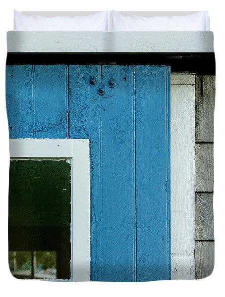 Old Door In Blue Duvet Cover