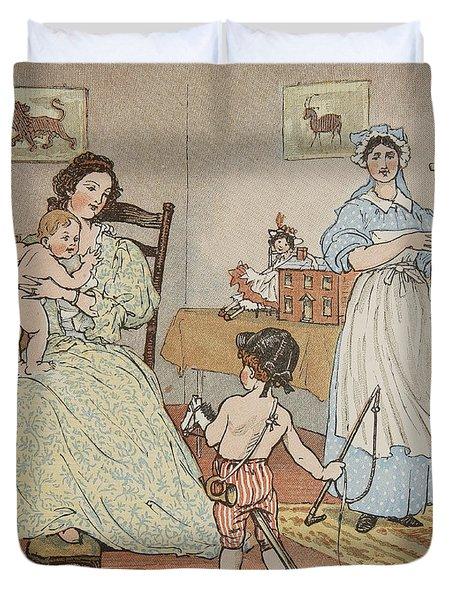 Bye Baby Bunting Duvet Cover by Rnadolph Caldecott