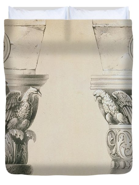Byzantine Capitals From Columns In The Nave Of The Church Of St Demetrius In Thessalonica Duvet Cover by Charles Felix Marie Texier