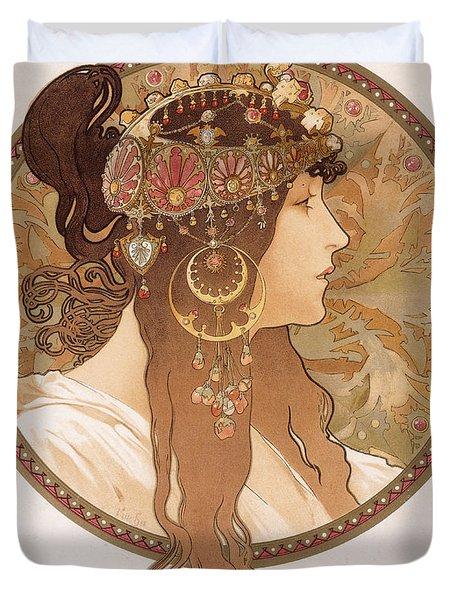 Byzantine Head Of A Brunette Duvet Cover