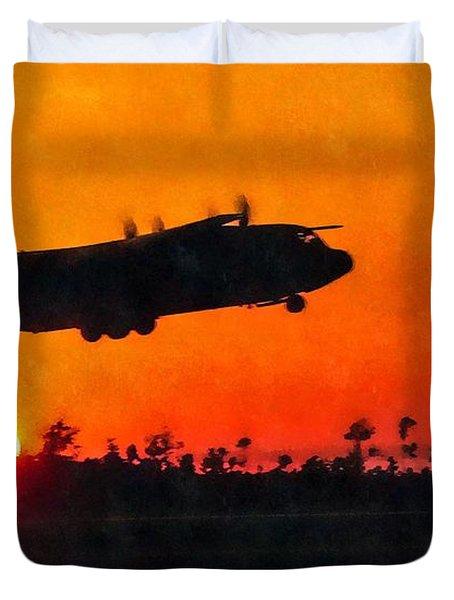 C-130 Sunset Duvet Cover by Paul Fearn