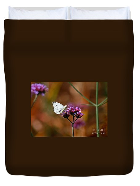 Cabbage White Butterfly In Fall Duvet Cover by Karen Adams