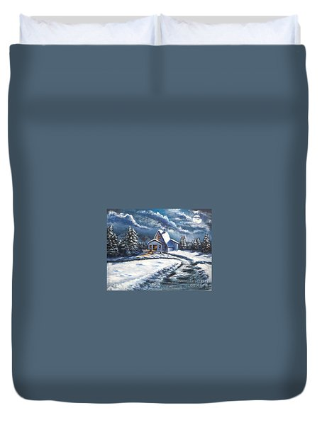 Cabin At Night Duvet Cover