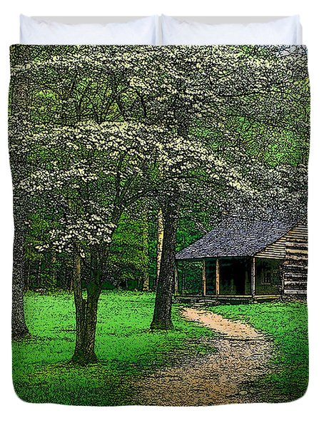 Duvet Cover featuring the photograph Cabin In Cades Cove by Rodney Lee Williams