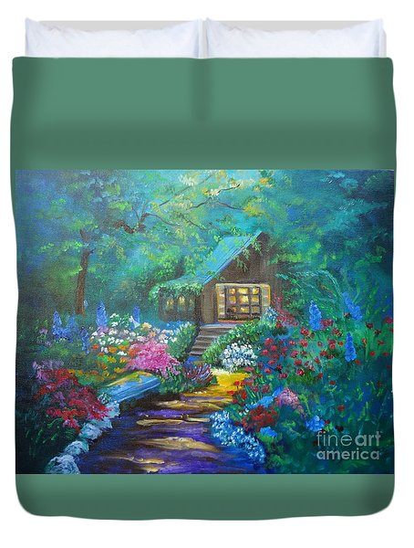 Cabin In The Woods Duvet Cover by Jenny Lee