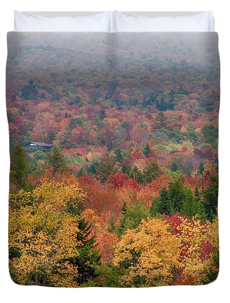 Cabin In Vermont Fall Colors Duvet Cover