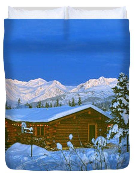 Cabin Mount Alyeska, Alaska, Usa Duvet Cover