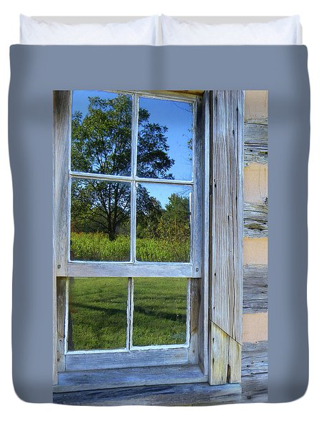 Duvet Cover featuring the photograph Cabin Reflections by Larry Bishop