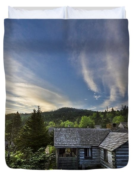 Cabins At Dawn Duvet Cover by Debra and Dave Vanderlaan