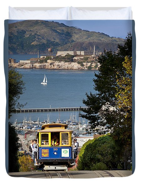 Duvet Cover featuring the photograph San Francisco Cable Car On Hyde Street Print By Brian Jannsen Photography by Brian Jannsen