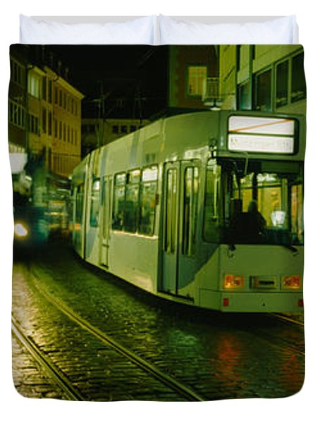 Cable Cars Moving On A Street Duvet Cover