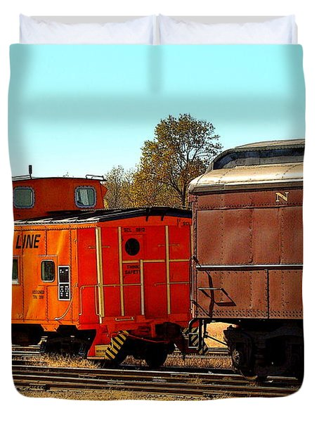Caboose And Car Duvet Cover