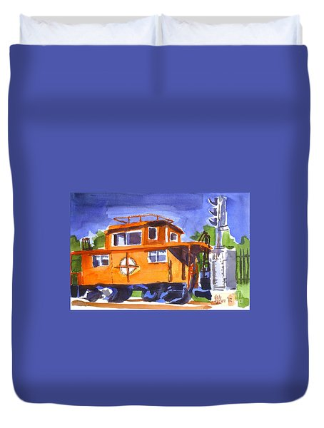 Caboose With Silver Signal Duvet Cover by Kip DeVore