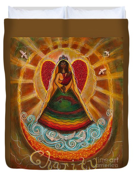 Duvet Cover featuring the painting Cachita Madonna by Deborha Kerr