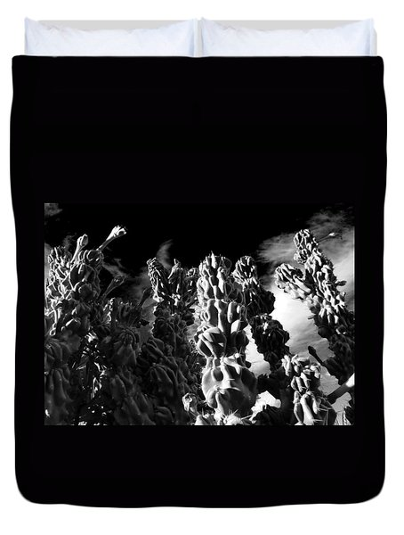 Duvet Cover featuring the photograph Cactus 1 Bw by Mariusz Kula
