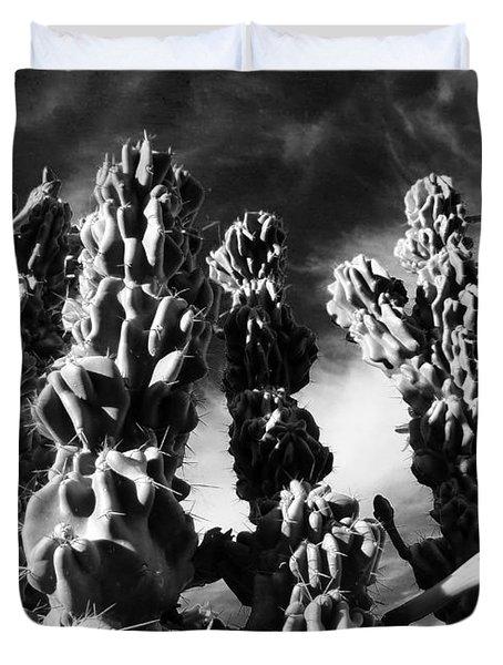 Cactus 2 Bw Duvet Cover