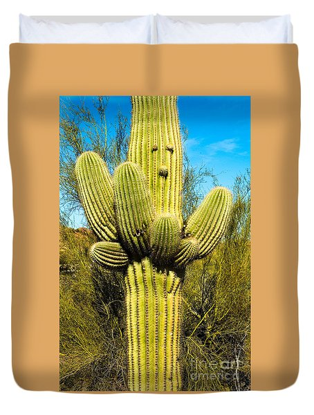 Duvet Cover featuring the photograph Cactus Face by Mae Wertz