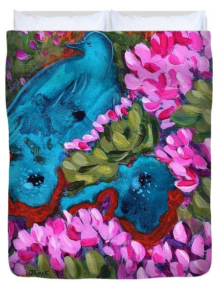 Cactus Flower Blue Bird Dream Duvet Cover