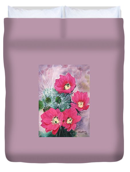 Cactus Flowers I Duvet Cover by Mike Robles