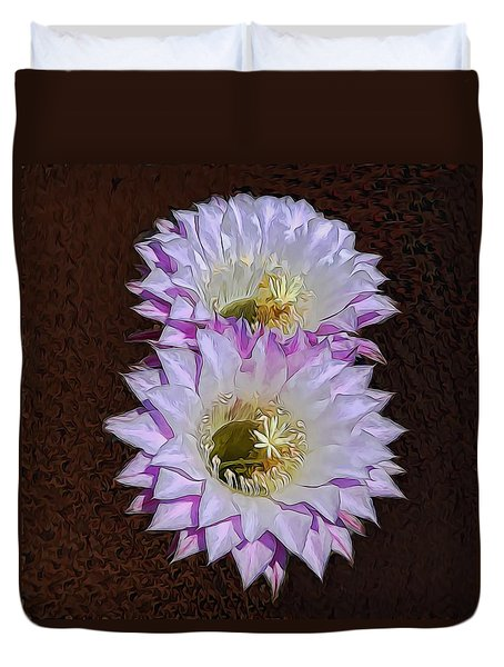 Cactus Flowers Duvet Cover by Pamela Walton