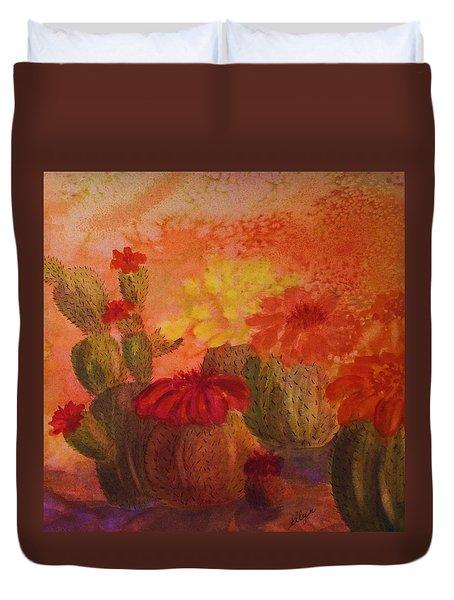 Cactus Garden - Square Format Duvet Cover by Ellen Levinson