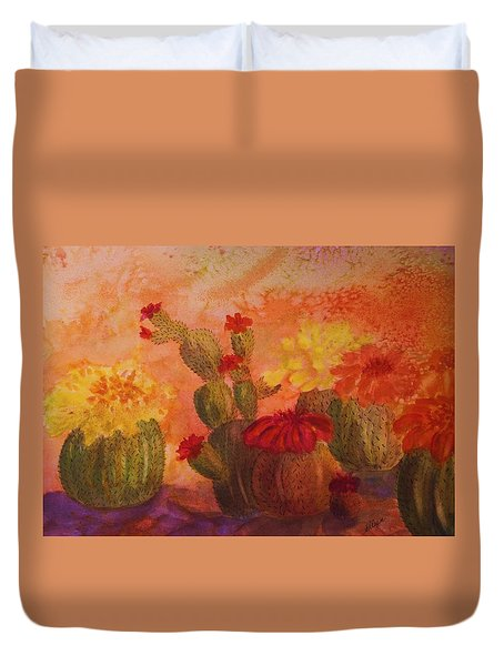Cactus Garden Duvet Cover by Ellen Levinson