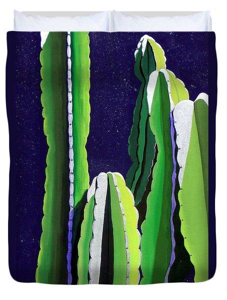 Cactus In The Desert Moonlight Duvet Cover