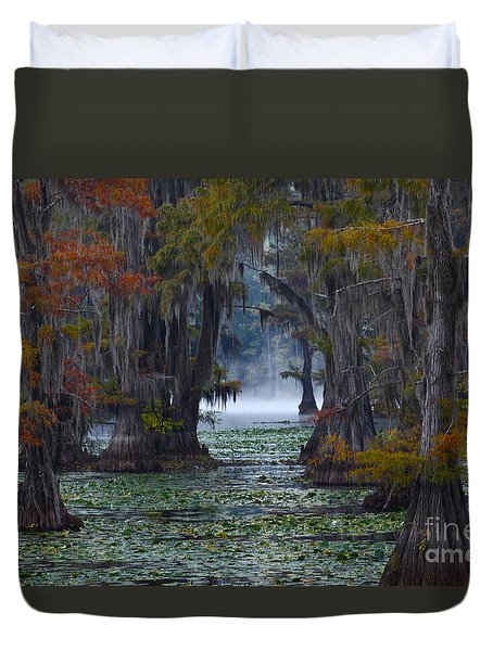 Caddo Lake Morning Duvet Cover by Snow White