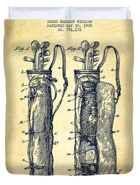 Caddy Bag Patent Drawing From 1905 - Vintage Duvet Cover