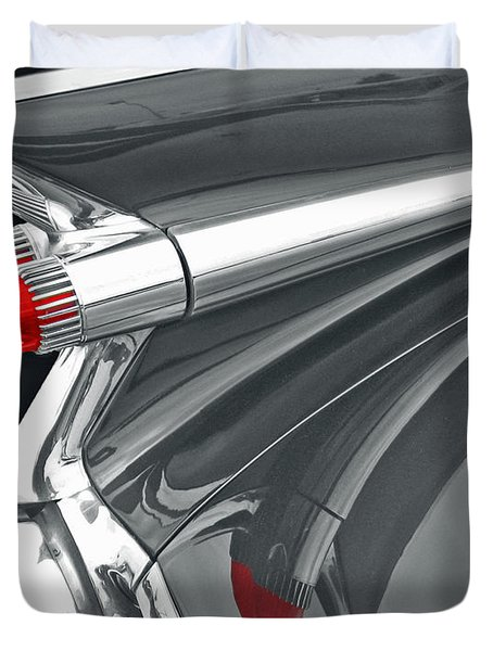 Duvet Cover featuring the photograph Caddy Classic Black And White by Cheryl Del Toro