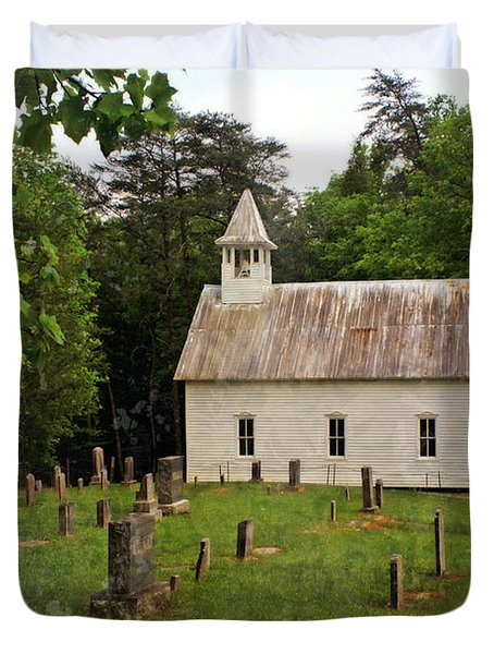 Cades Cove Church Duvet Cover by Marty Koch