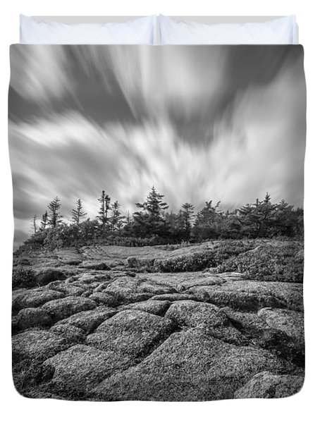 Cadillac Mountain Long Exposure Bw Duvet Cover