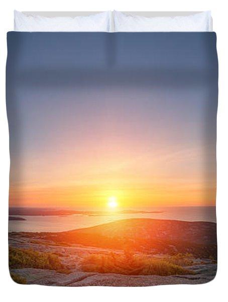 Cadillac Mountain Sunrise Panorama Duvet Cover