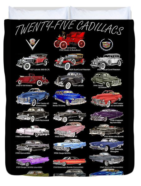 25 Cadillacs In A Poster  Duvet Cover