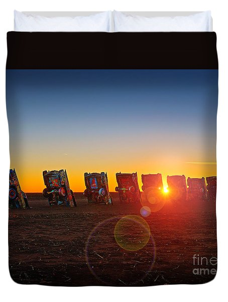 Cadillac Ranch Sunset Duvet Cover