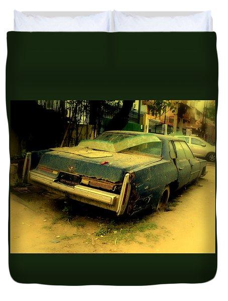 Duvet Cover featuring the photograph Cadillac Wreck by Salman Ravish
