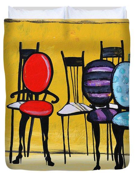 Cafe Chairs Duvet Cover by Karon Melillo DeVega