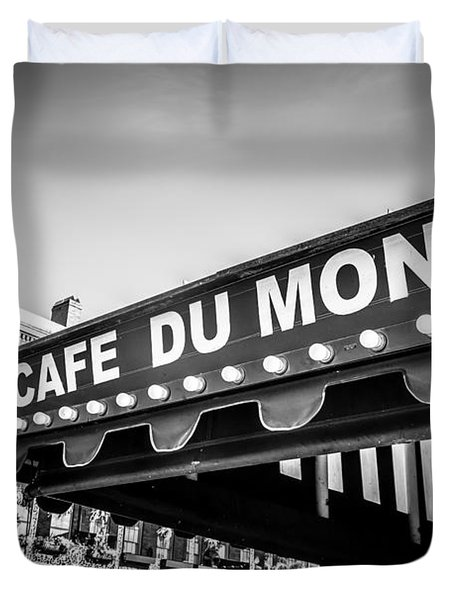 Cafe Du Monde Black And White Picture Duvet Cover by Paul Velgos