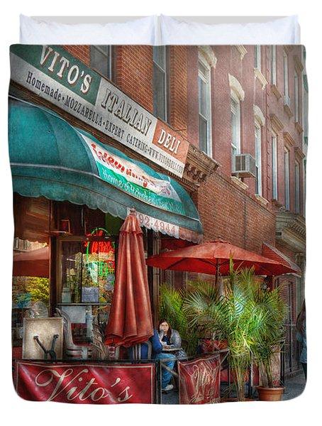 Cafe - Hoboken Nj - Vito's Italian Deli  Duvet Cover by Mike Savad