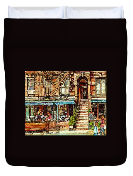 Cafe Mogador Moroccan Mediterranean Cuisine New York Paintings East Village Storefronts Street Scene Duvet Cover