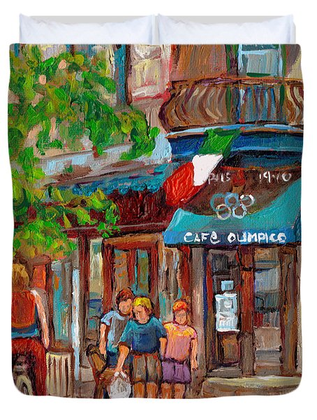 Cafe Olimpico-124 Rue St. Viateur-montreal Paintings-sports Bar-restaurant-montreal City Scenes Duvet Cover by Carole Spandau
