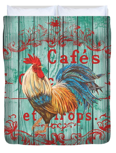 Cafe Rooster On Aqua Duvet Cover