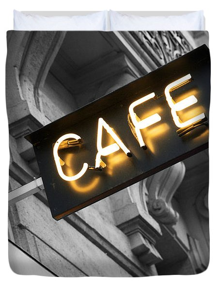 Cafe Sign Duvet Cover by Chevy Fleet