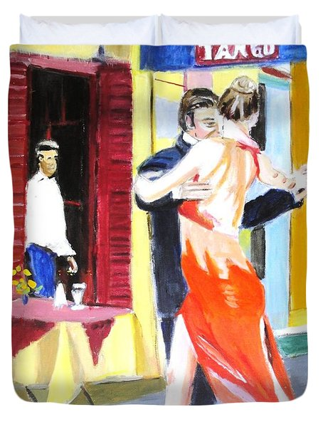 Duvet Cover featuring the painting Cafe Tango by Judy Kay