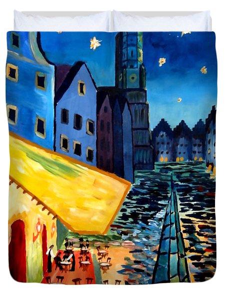Cafe Terrace In Landshut - Inspired By Van Gogh Duvet Cover by M Bleichner