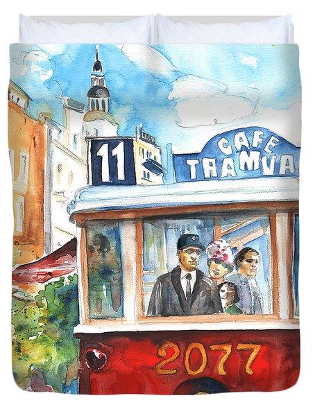 Cafe Tramvaj In Prague Duvet Cover by Miki De Goodaboom